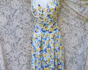 Valentines Sale Blue floral dress cotton  frock  roses yellow white  summer   small  from vintage opulence on Etsy
