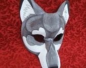 FREE SHIPPING in the USA Gray Timber Wolf Mask... handmade leather mask masquerade Halloween costume mardi gras burning man