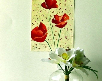 Poppies Watercolor Painting, Red Flowers Art, Watercolor Flowers, Modern Poppy Painting