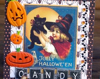 Halloween Handmade Vintage Jolly Halloween Card