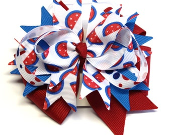 Boutique Patriotic Red White and Blue 4th of July  Hair Bow Clip