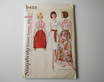 1960s Womens Sleeveless Blouse and Gathered Skirt Simplicity 5451 Vintage Sewing Pattern Misses Knee Length Party Full Skirt Size 14 Bust 34
