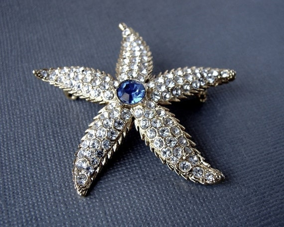 Something Royal Blue Rhinestone Starfish Brooch Bohemian Chic Beach Bride Gold White Wedding Vintage Costume Jewelry Reproduction Piece
