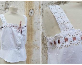 Vintage Edwardian Top  Cache Corset 1900/1910 blouse embroidered open work lace white cotton size M/L