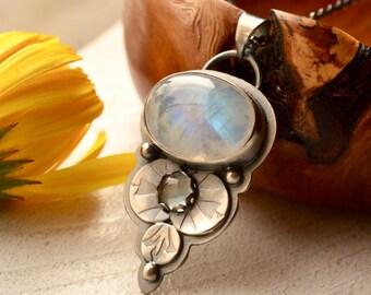 Rainbow Moonstone Necklace, Swiss Blue Topaz Pendant, Gemstone Necklace, Two Stone Pendant, Fabricated Silver, Handmade Metalwork