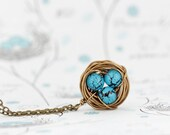 Gift For Mom, Wire Bird Nest Pendant, Mothers Day, Turquoise Bead Eggs, Gift for New Mom, Push Present, Grandmother Gift, Woodland Necklace