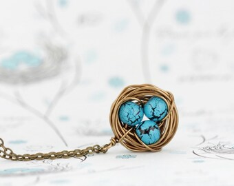 Gift For Mom - Wire Bird Nest Pendant - Turquoise Bead Eggs - Gift for New Mom - Push Present - Grandmother Gift - Woodland Jewelry