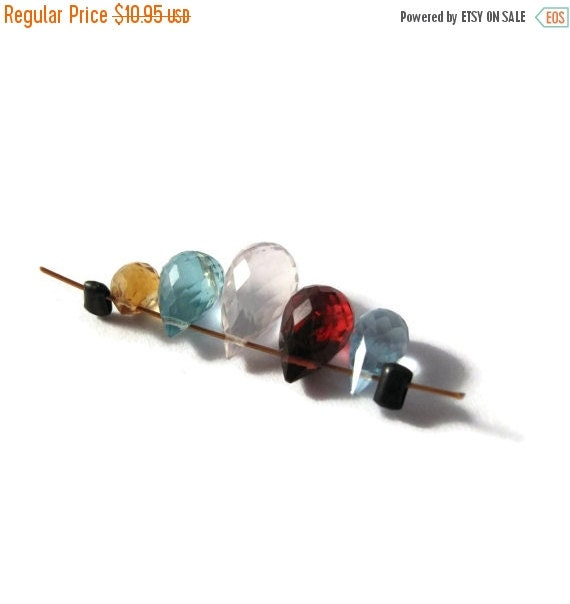 BIRTHDAY SALE - Gemstone Briolette Mix, Five Beads, Rose Quartz, Blue Topaz, Apatite, Garnet & Citrine Beads for Making Jewelry (B-Mix9b)
