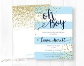 It's a Boy Glitter Baby Shower Invitation - Oh Boy - Prince Baby Shower - Classic Blue Sparkle - Glitter Confetti Digital File or Printed