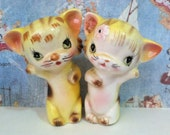 VERY RARE Vintage Tabby Tiger Kittens Cats Salt and Pepper Shakers Antique Collectibles or Cake Toppers