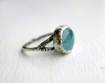 Notched Chalcedony Ring