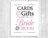 Printable Cards & Gifts for Bride and Groom 8x10 Black and White and Medium Pink Card Box Wedding Sign - Instant Download