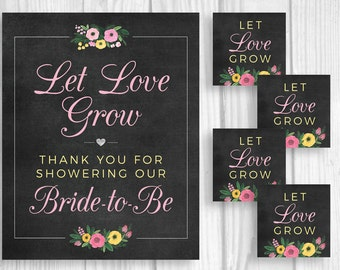 Let Love Grow 8x10 Printable Bridal Shower Sign and Matching Seed Package Favor Tags - Chalkboard with Pink and Yellow Watercolor Flowers