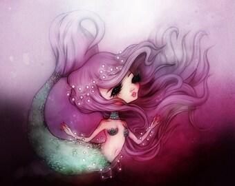 Mermaid Princess - 5 x 7 Print - illustration kawaii water sea love pretty purple design nursery art ocean deep anime girl pearl