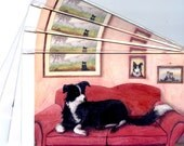 4 x Border Collie dog greeting cards sheepdog sitting on the sofa where cushions getting comfortable dog on couch lounge Susan Alison Art
