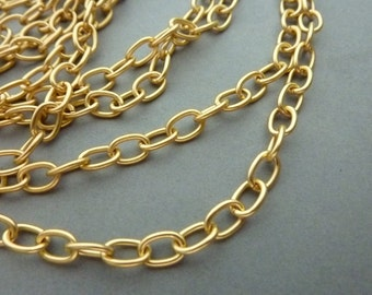 4 ft Round Matte Gold Link Cable Link Chain - Brass