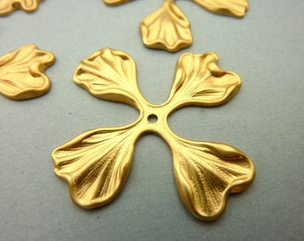 4 Brass Four Petal Leaf Flower