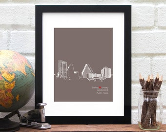 Austin Texas Engagement Gift Art Print, Personalized Skyline Wedding Gift, Guest book Alternative Austin Bride, Anniversary Gift Wall Art