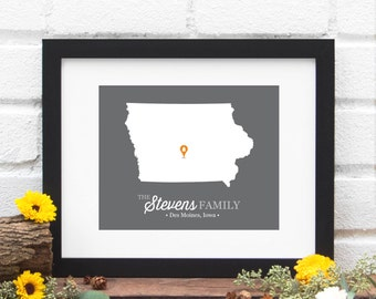Iowa State Map, State Map Art Print, Personalized New Family Gift, Wedding Gift, US State Map Anniversary Gift, Relocation - 8x10 Art Print