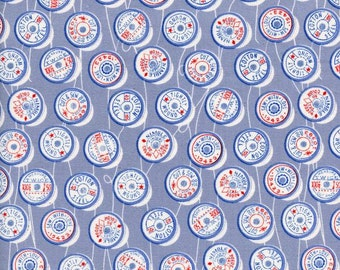 Spools fabric in blue by Melody Miller
