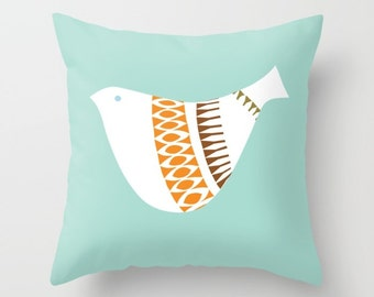 Mid Century Illustrated Bird No. 1 Throw Pillow