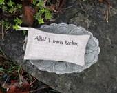 Lavender sachet in natural linen with hand embroidered Swedish text 'Alltid i mina tankar'