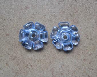 Lampwork Beads - SueBeads - Disc Beads - Light Blue Cut Disc Flower Bead Pair - Handmade Lampwork Beads - SRA M67