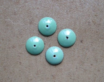 Enamel Bead Caps - Bead Caps - SueBeads - Willow Round Bead Caps - Enameled Bead Caps