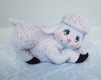 Ceramic Sheep - Little Lamb - farm animal - Spring lamb - baby sheep - cute little lamb - spring decor - baby shower gift - kids room decor