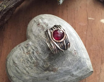 Garnet ring, wire wrap band, Gypsy ring, Silver engagement ring, Birthstone ring, red stone ring, bohemian ring - Visions of you R2119