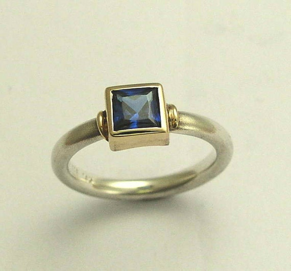 Blue Sapphire ring, engagement ring, sterling silver ring, silver with gold ring, blue stone ring, mixed metal ring - Deep ocean R0956