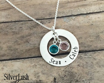 Personalized Jewelry for Mom - Two Names - Sterling Silver Mom Jewelry
