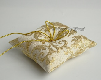 Wedding ring pillow with golden leaves- ring cushion-ready to ship