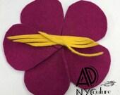 Fuchsia felt flower- HANDMADE Millinery felt flower- handmade floral hair clip by Anne DePasquale in NYC- Valentine Flower hair clip