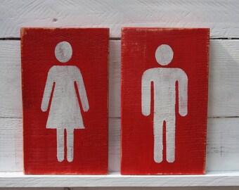 Restroom Sign ,  Bathroom Sign ,  Wood Restroom Sign