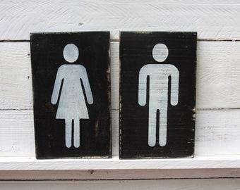 Restroom Sign ,  Bathroom Sign ,  Painted Wood Restroom Sign