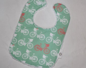 Mint Whimsical Wheels Chenille Bib