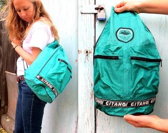 Teal GITANO Drawstring Backpack // 1990s Skate // Unisex Bag // Travel