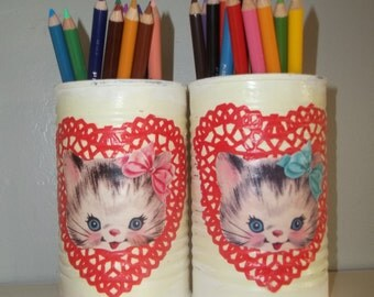 Painted Tin Cans Upcycled Tin Can Pencil Holder ~ Little Kitten Tin Can ~ Valentine's Day Decor