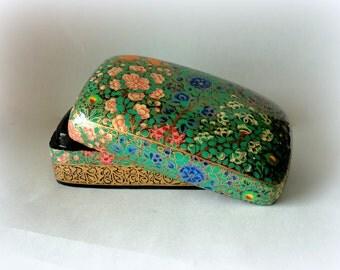 Vintage Exotic Wild Flower Lacquered Kashmir Paper Mache Dresser Box Gold Floral Handpainted HandMade Lid Gift Presentation Trinket Hostess