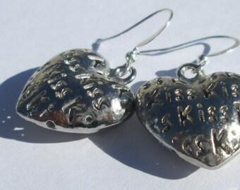 KISS heart silver plate charm pierced dangle earrings affordable unique by Ziporgiabella