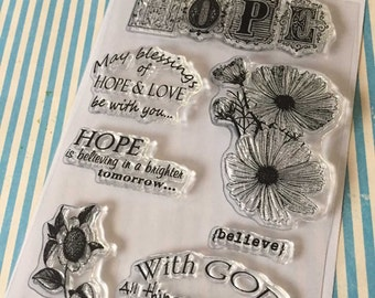 Hope and Love 6x4 Clear Stamp Set 7 pc
