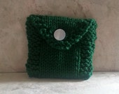 Tea Bag Tote, Tea Bag Wallet, Cotton Handknit, Forest Green Emerald Green Gift under 10