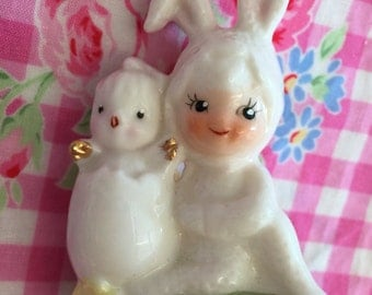 Napco Vintage  Bunny Pixie with Baby Chick Ceramic  Figurine.. Very Rare.. Super Cute.. Collectibles