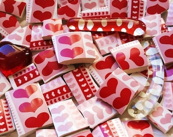 Mosaic Tiles--Sweet Hearts-Love-Valentine Day-53 Pieces-Includes 3 glass gems-Perfect for your special mosaic projects