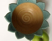 ON SALE 25% Off with Coupon code Handcrafted gold  and  teal Flower petal bowl Sunflower bowl