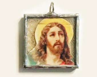 Hand Soldered Religious Pendant Jesus with Vintage Lace
