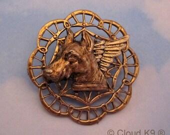 DOBERMAN Guardian ANGEL PIN/ Doberman Jewelry for Dog Lovers / Dobermann Pinscher/ Miniature Pinscher Min Pin. Pet Remembrance Memorial