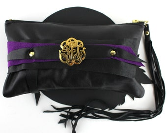 Black & Purple Leather Wrist Clutch with Gold Scroll