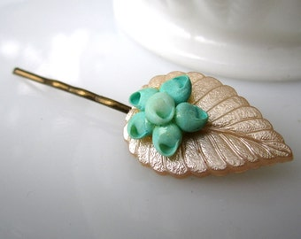 Feuille D'Hiver Hairpin - vintage 1950's plastic leaf and painted micro-shell flower on bronze hairpin - Free Shipping to USA